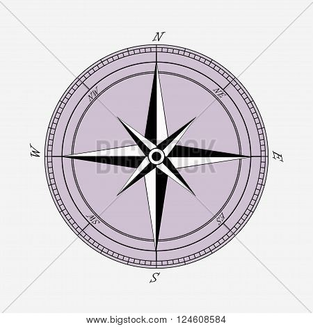 vintage Compas with wind rose sign background vector