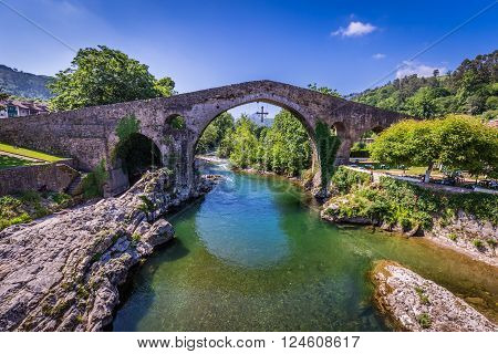 Old Roman stone bridge in Cangas de Onis (Asturias) Spain