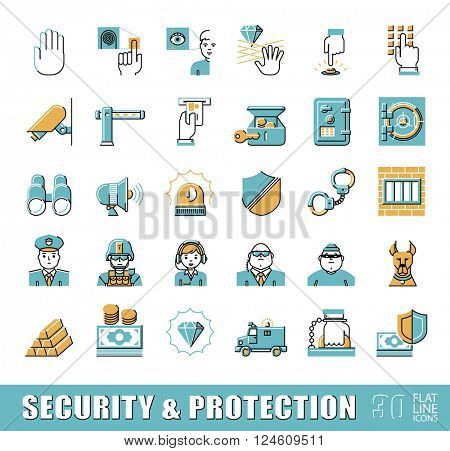 Set of premium quality flat line security and protection icons. Collection of web safety icons. Vector illustration.