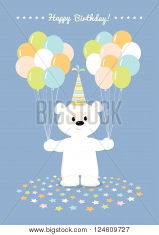 Vector illustration of a cute cartoon white teddy bear in a birthday hat holding many  balloons and smiling. Greeting card Happy Birthday in pastel colors. Blue background.