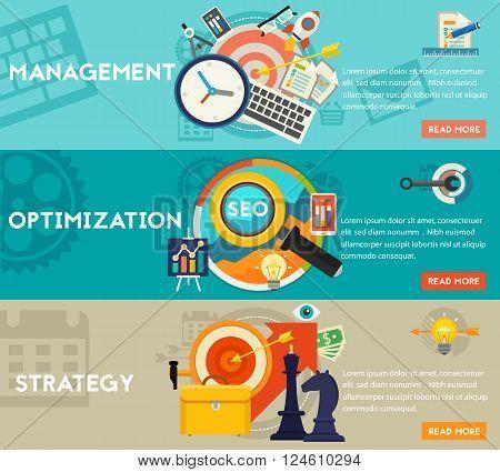Freelance, management and optimization concept illustrations. Horizontal banners