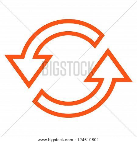 Sync Arrows vector icon. Style is outline icon symbol, orange color, white background.