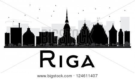 Riga City skyline black and white silhouette. Vector illustration. Simple flat concept for tourism presentation, banner, placard or web site. Business travel concept. Cityscape with landmarks
