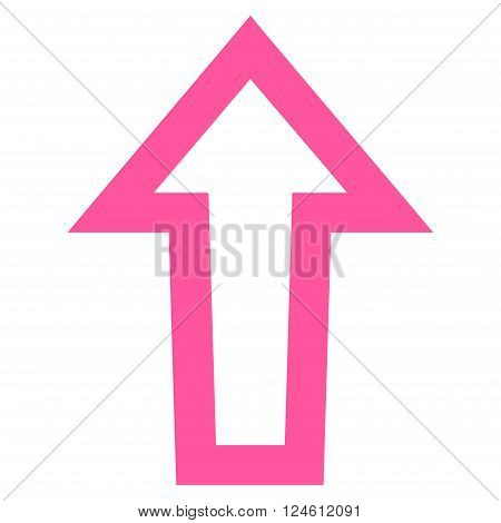 Arrow Up vector icon. Style is contour icon symbol, pink color, white background.
