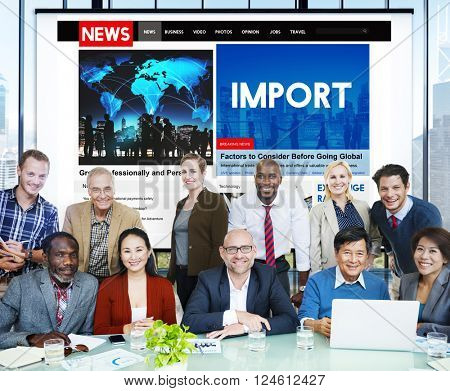 Import Freight International Transportation Concept