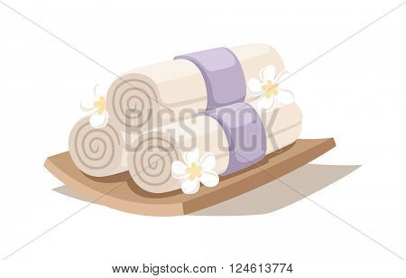 Spa decorative symbols set with bamboo towels aroma vector.