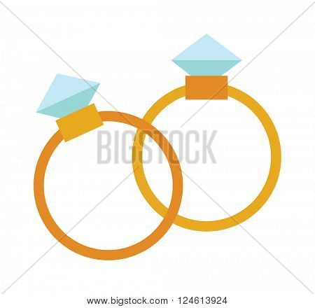 Precious ring with stone colored gems isolated on white background