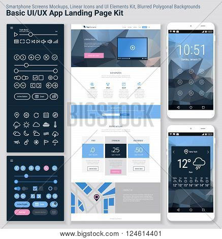 Flat design responsive pixel perfect UI mobile app and website ...