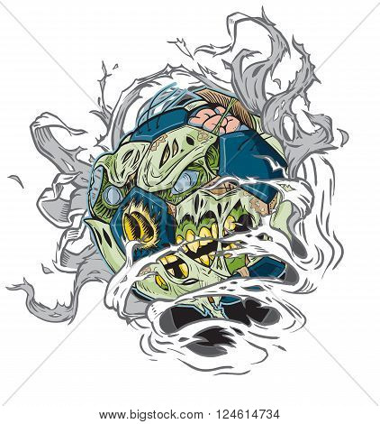 Vector cartoon clip art illustration of A Zombie Soccer Ball Ripping out of the Background. Important elements are in seperate layers in the vector.