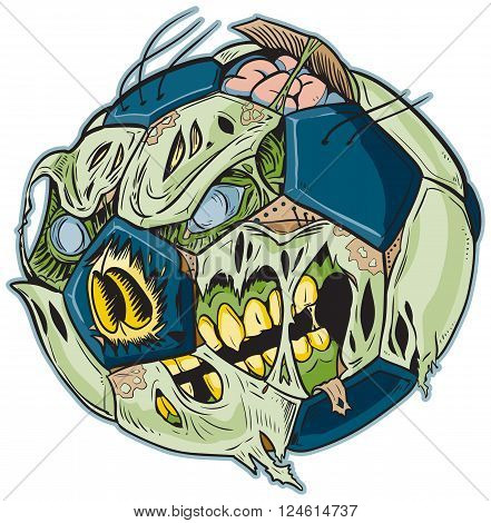 Vector cartoon clip art illustration of A Zombie Soccer Ball. Important elements are in seperate layers in the vector.