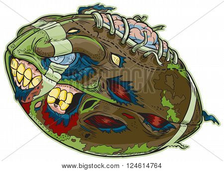 Vector cartoon clip art illustration of A Zombie Football. Important elements are in seperate layers in the vector.