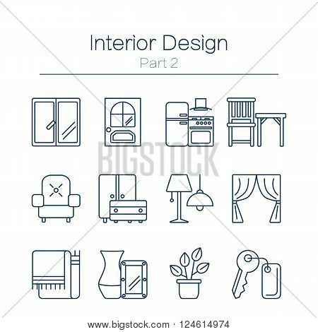 Vector set of modern flat line icons for interior design website includes furniture, decor elements and light design symbols. Interior design icons isolated on white background.