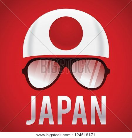 Head band and sunglasses with Japan insignia vector illustration