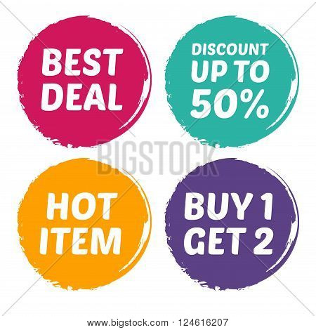 Vector stock of best deal hot item discount and buy one for two mark