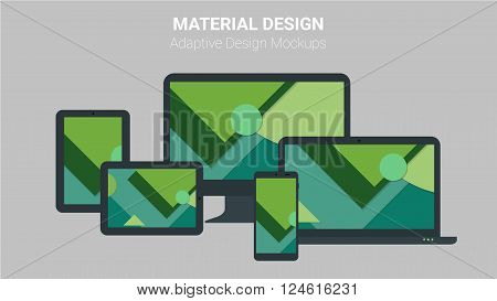 Material design responsive and adaptive webdesign technology kit of modern electronic gadgets, with trendy material dsign backgrounds