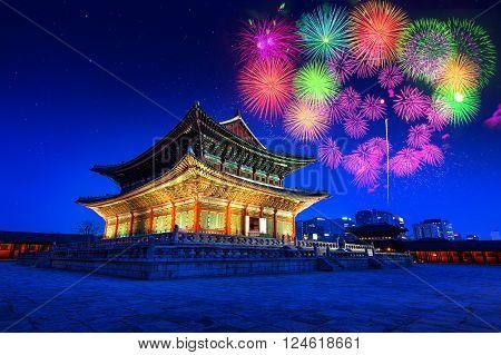 Gyeongbokgung Palace at night and firework festival in seoulKorea.