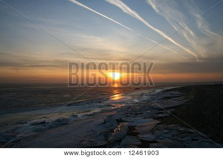 sunset on blue indigo sky