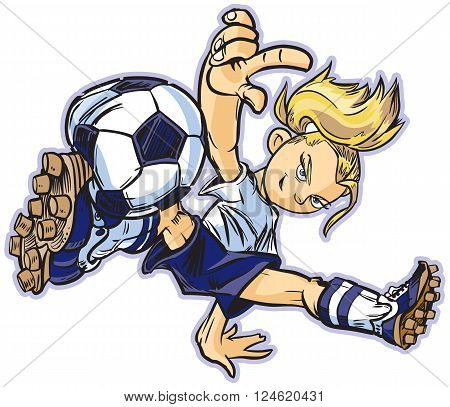 vector clip art cartoon illustration of a caucasian girl using a break dancing move to play soccer. Also available in asian and african ethicities!