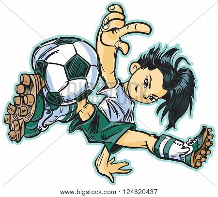 vector clip art cartoon illustration of an asian girl using a break dancing move to play soccer. Also available in caucasian and african ethicities!