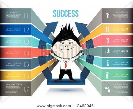 Steps to Success, Colored Rectangular Prism 3D with Success Text, Number and Text Information, 9 Options, Vector Illustration.