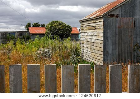 Rustic Wooden Gray Shed or Small Barn with Red Roof in Overgrown Field with Picket Fence