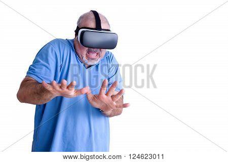 Scared Man Wearing Virtual Reality Glasses