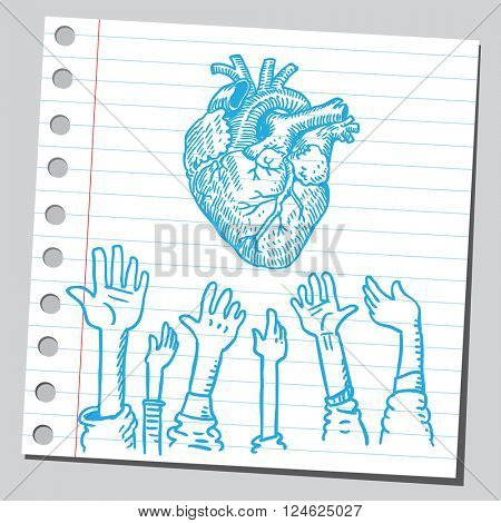Heart and hands up