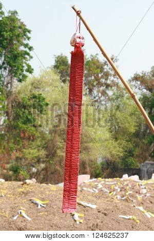 Red Chinese crackers hanging on the wooden stick
