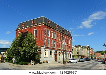 MONTPELIER, VT, USA - AUG 11: Historic downtown building on State Street on Aug. 11, 2013 in Montpelier, State of Vermont, USA.