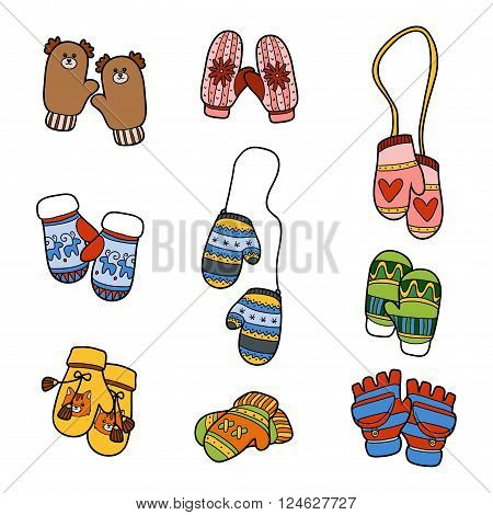 Vector Set Of Knitted Mittens With Animals And Geometric Patterns