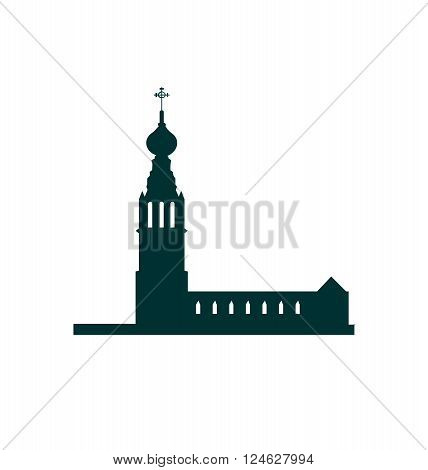 Russian orthodox church black silhouette. Travel background.