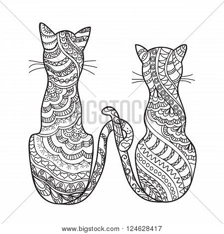 Hand drawn decorated cartoon cat in boho style. Pencil drawing. Image for adult or children coloring book page tattoo. Vector illustration - eps 10.