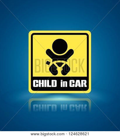 Baby in car sign vector on white background. Vector illustration. Can use for sticker and tag label on car.
