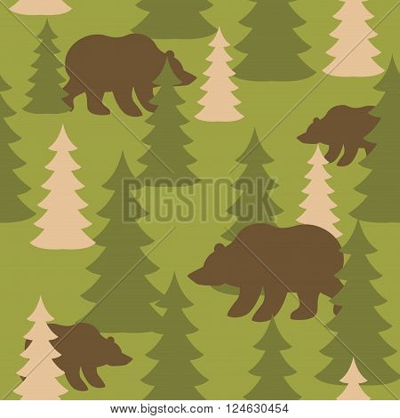 Military camouflage background bears in woods. Wild Beasts and trees Protective seamless pattern. Army soldier texture for clothes. Ornament for hunter. Soldier khaki ornament