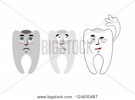 Set Of Teeth. Teeth With Emotions. Rotten Black Teeth White And Healthy Teeth. Cheerful Tooth Waves.