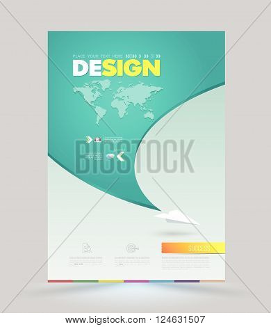 Vector template with paper origami airplane. Can be used for brochures, banners, covers, magazines, leaflet design, travel posters.