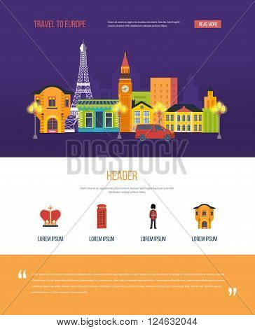 London, United Kingdom and France flat icons design travel concept. London landscape. One page web design template with color line icons of  travel to Europe.