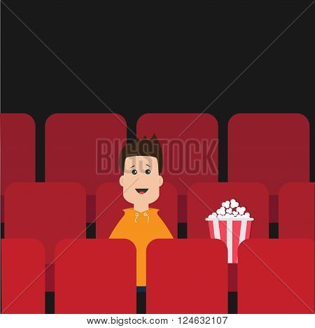 Cartoon boy sitting in movie theater. Film show Cinema background. Viewer watching movie. Popcorn box on red seat. Flat design Vector illustration