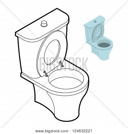 Toilet Wc Coloring Book. Bathroom Accessories In Linear Style
