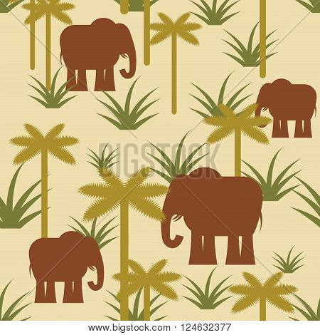 Elephant And Palm Military Camouflage Background. Protective African Seamless Pattern. Savanna Army