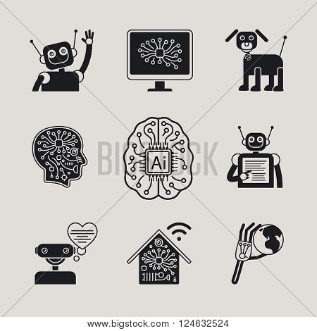 AI, Artificial Intelligence, AI icons ans AI signs. Vector illustration