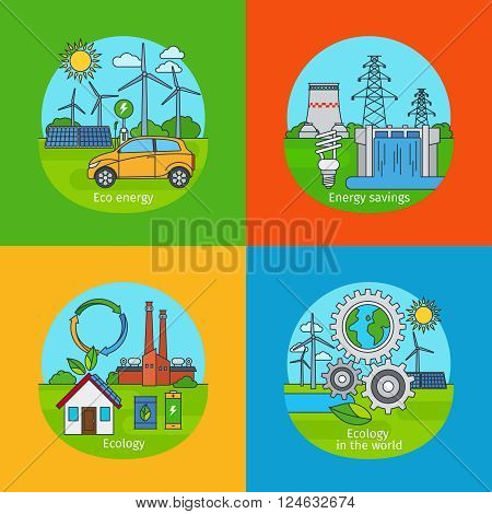 Green energy concept and ecology design concept. Vector green energy icons