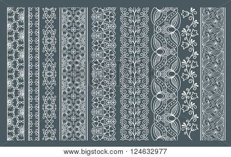 Lace borders. Vertical vector seamless lace patterns. Vector illustration