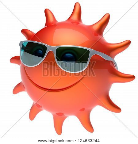 Smiling sun star face sunglasses cheerful summer smile cartoon ball emoticon happy sunny heat red orange person icon. Smiley laughing character holiday chilling sunbathing sunbeam avatar. 3D render