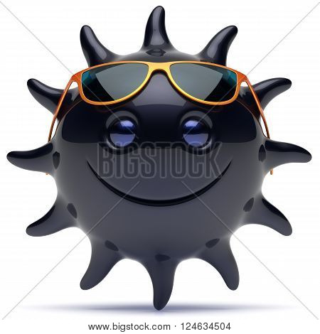 Smiley black star face sunglasses sun cheerful summer smile cartoon ball emoticon happy sunny joke negative person icon. Smiling laughing character holiday chilling sunbathing ebony avatar. 3D render