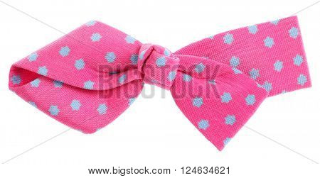 Hair bow tie pink with blue stars