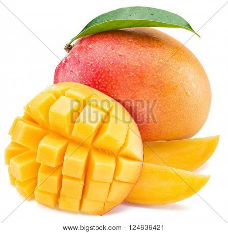 Mango fruit and mango cubes. Isolated on a white background.