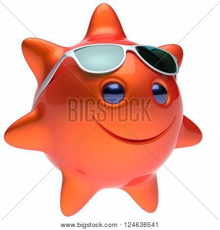 Sun smiley star face sunglasses cheerful summer smile cartoon ball emoticon happy sunny heat orange red person icon. Smiling laughing character holiday chilling sunbathing sunbeam avatar. 3D render