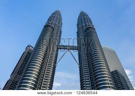 KUALA LUMPUR, MALAYSIA - MARCH 14: Petronas Twin Towers on March 14, 2016 in Kuala Lumpur, Malaysia.