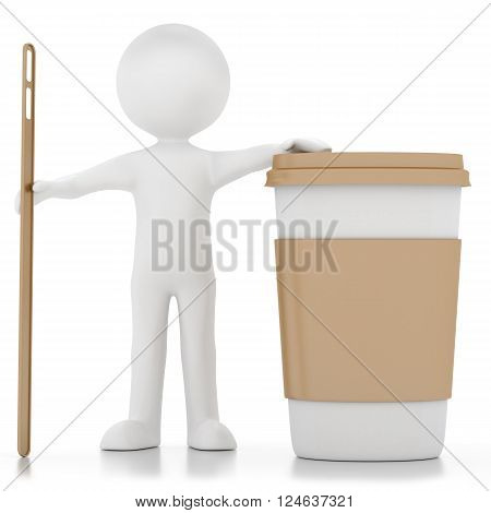 3d men coffee isolated on a white background